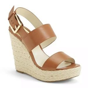 Michael Kors Posey Brown Leather Wedge Sandals